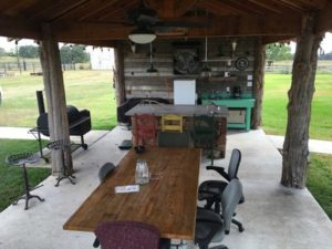 oak creek ranch guests can enjoy our outdoor pavilion with grill, kitchenette, bar, picnic tables, and lounge area